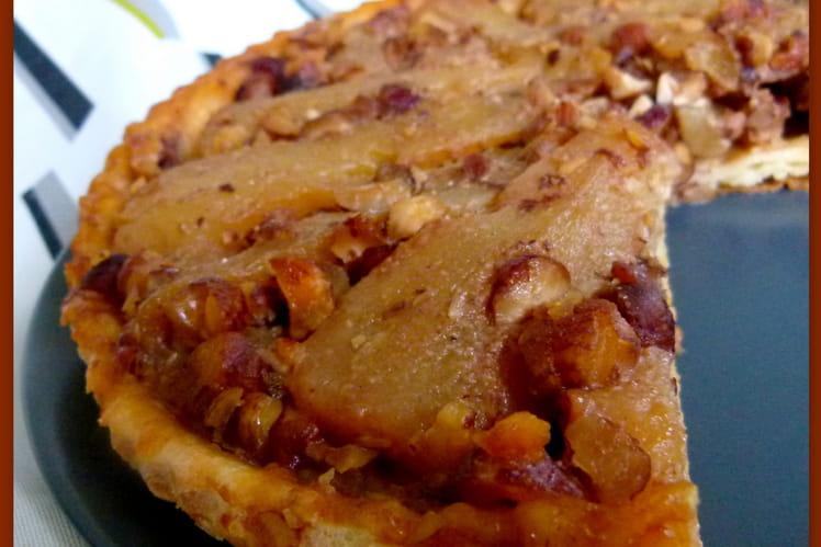 Tatin aux poires, caramel beurre salé et noisettes