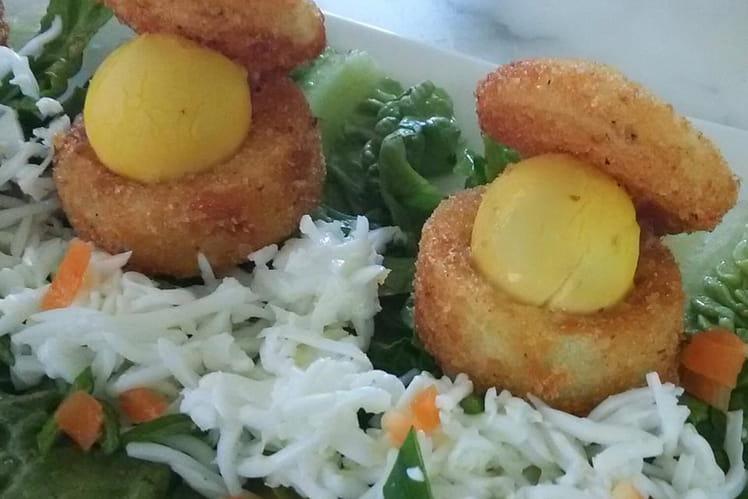 Beignets de pommes de terre et oeufs