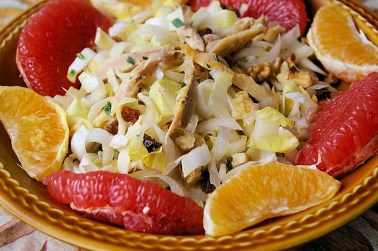 recette de salade d 39 endives aux agrumes et au poulet la. Black Bedroom Furniture Sets. Home Design Ideas