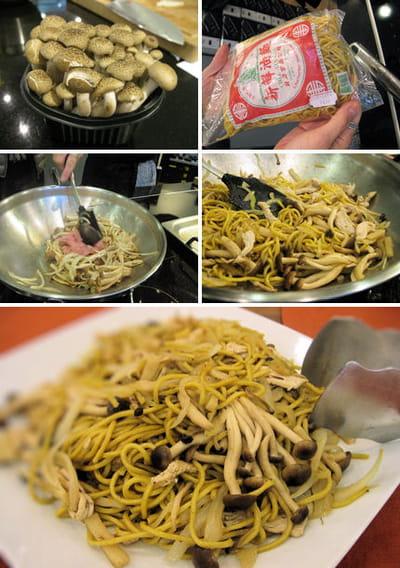 préparation du wok de nouilles aux légumes