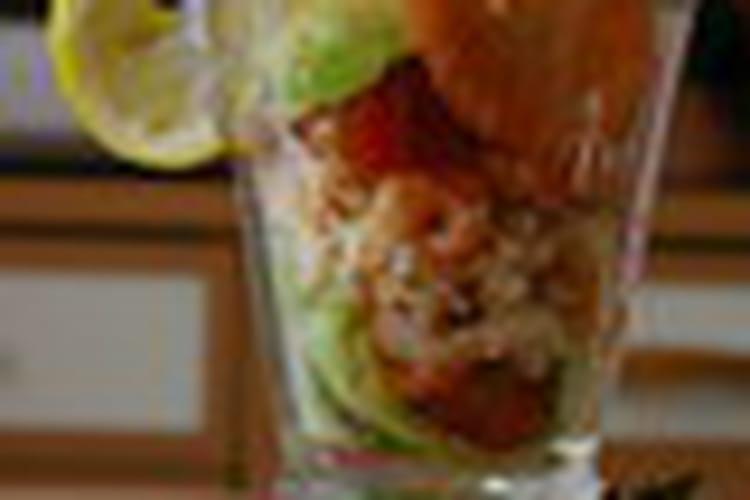 Verrines avocat-crabe-crevettes
