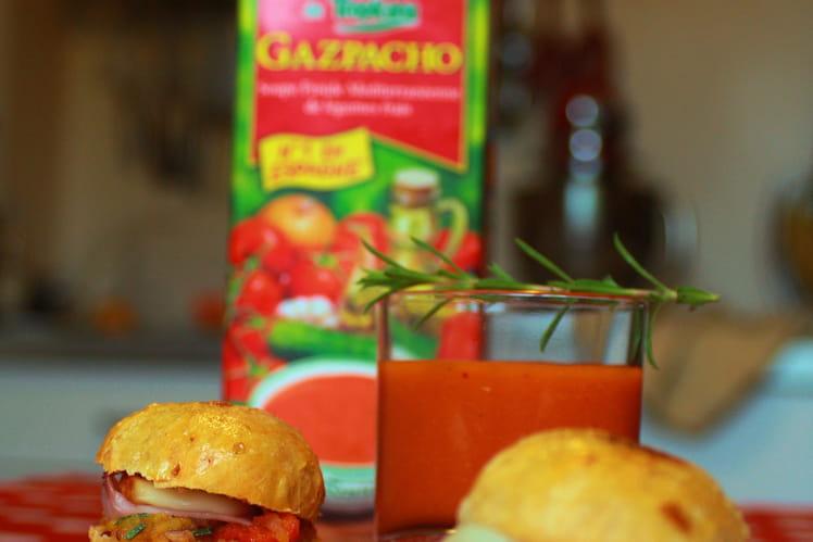 Gazpacho Alvalle et ses mini burgers