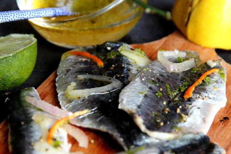 Sardines marinées sur planchette