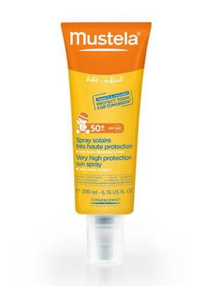spray solaire très haute protection visage et corps mustela.