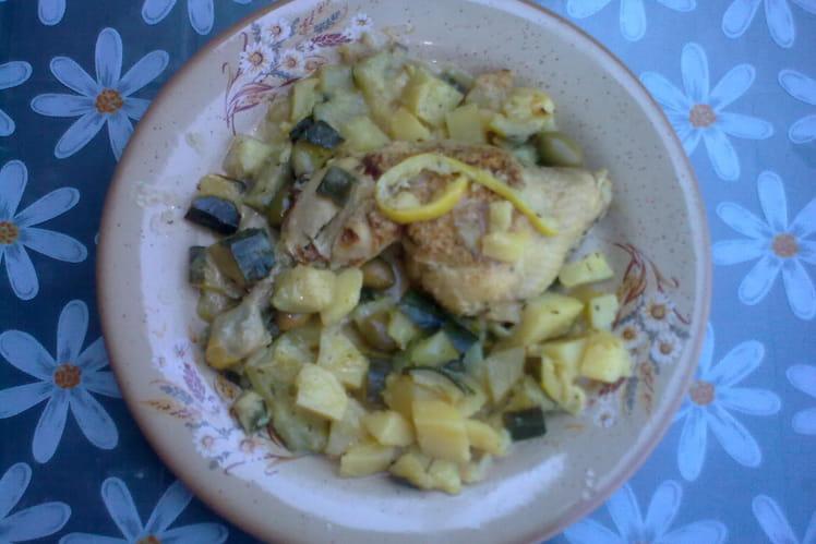 Ragoût de poulet au citron et olives