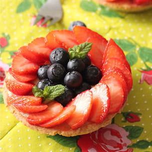 tartelette fraise myrtille et beurre d'amande