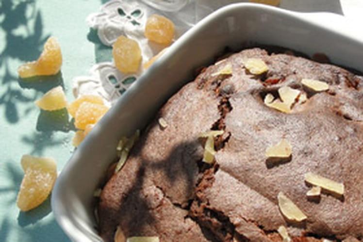 Brownies au chocolat, amandes et gingembre confit