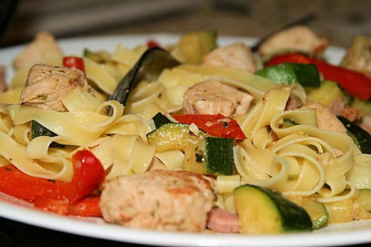 Tagliatelles au poulet et aux légumes