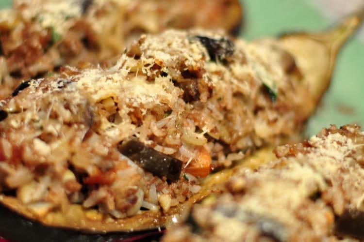 Aubergines farcies gratinées au parmesan