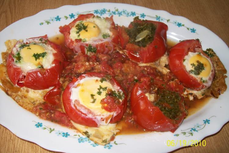 Tomates aux oeufs en cocotte