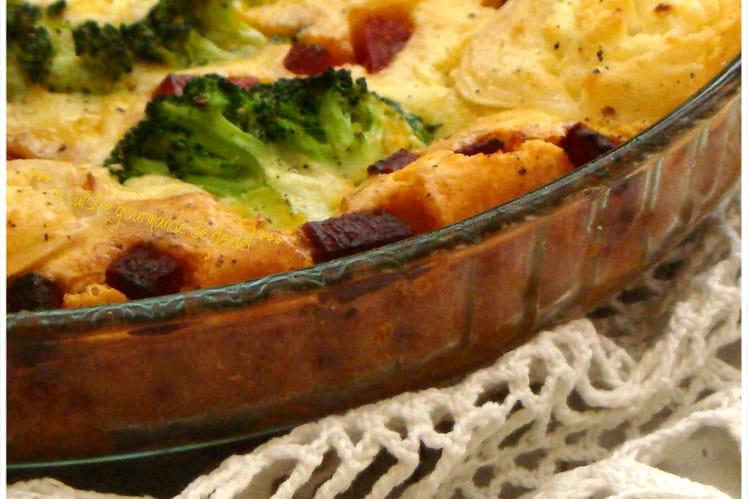 Quiche sans pâte au brocoli, chèvre et chorizo