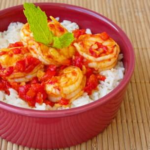 wok de crevettes pimentées au poivron