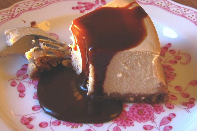 Cheesecake aux bananes sauce caramel au chocolat