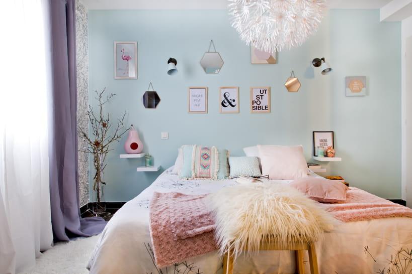 Déco mur avec cadre et miroir