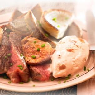 emincé de boeuf au foie gras et glace marron