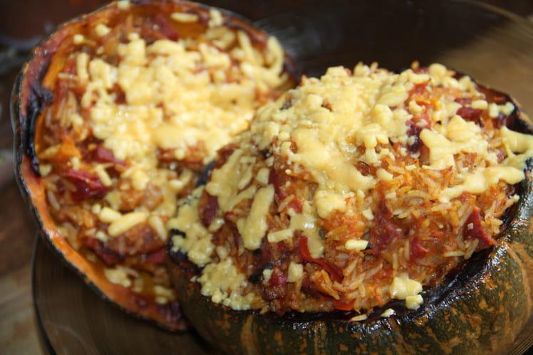 Courge shiatsu farcie au riz et chorizo