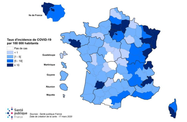 carte coronavirus régions france