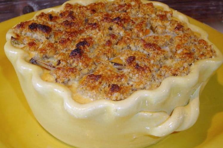 Crumble de christophine aux moules, crème au safran
