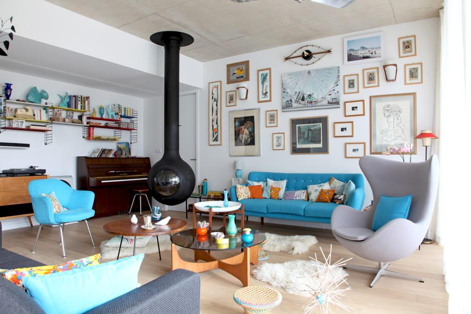 Salon béton en bleu céleste