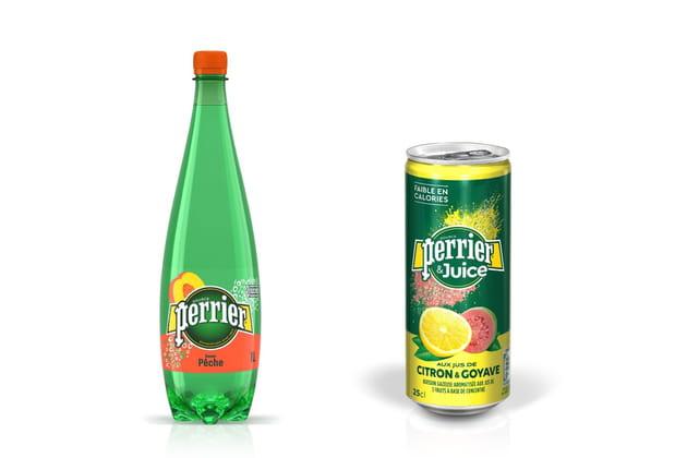 Le Perrier pêche pour la gamme aromatisée et le Citron-Goyave pour la gamme Perrier&Juice