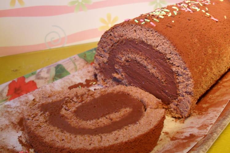 Gâteau roulé cacao et ganache montée