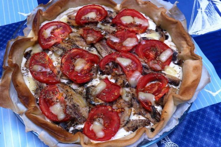 Tarte aux sardines-chèvre et tomates
