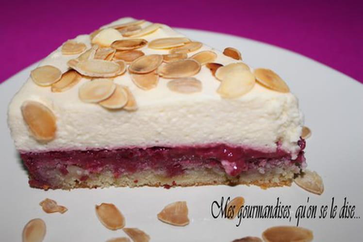 Gâteau entremets framboises-mascarpone et amandes