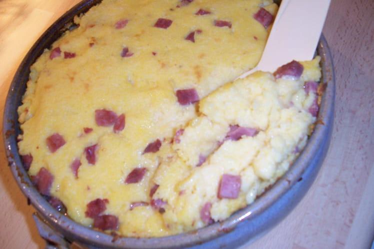 Gratin de polenta au jambon