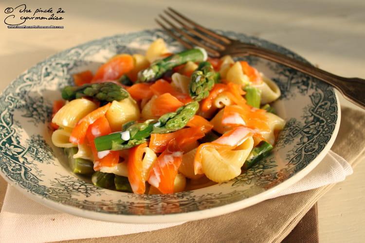 Recette de pipe regate aux asperges vertes et au saumon - Cuisiner des asperges fraiches ...