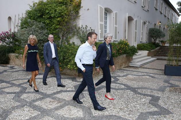 Brigitte Macron, Phillip May, Theresa May et Emmanuel Macron au fort de Brégançon (2018)