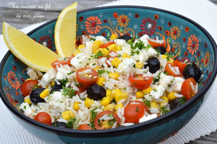 Recette de salade de riz aux tomates cerise ma s olives - Salade de riz pour 10 personnes ...