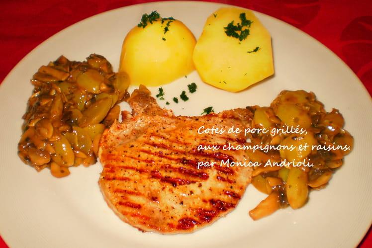 Côtes de porc aux champignons et raisins blancs