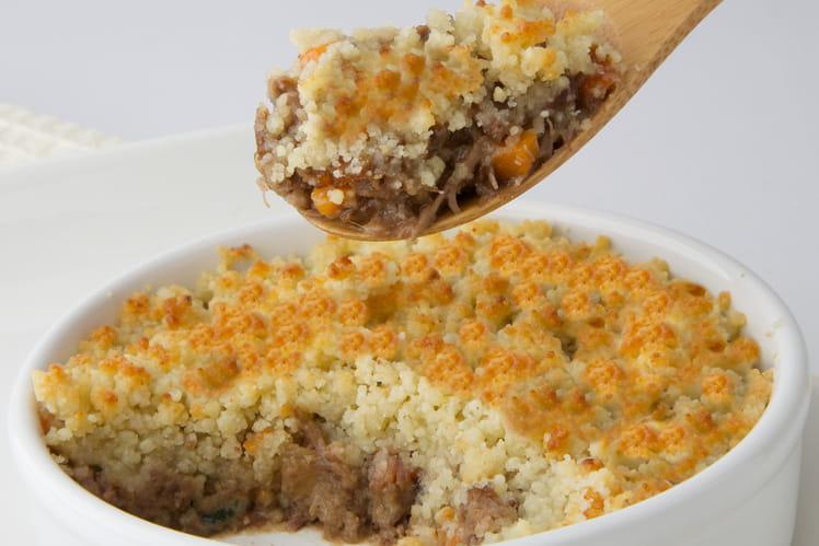 Crumble d'agneau confit au Roquefort