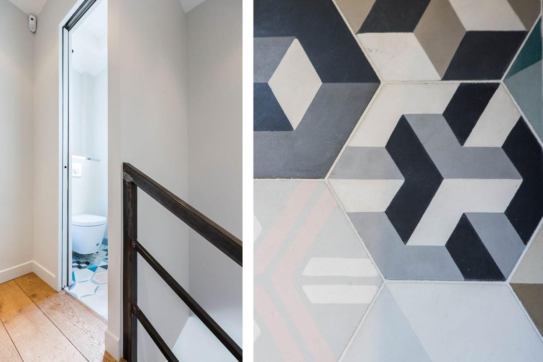 des carreaux de ciment dans les toilettes. Black Bedroom Furniture Sets. Home Design Ideas