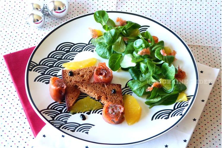 Pain d'épices à la truite à l'aneth et suprêmes d'orange