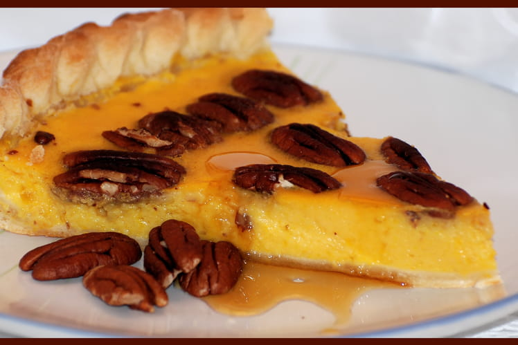 Tarte au potiron, sirop d'érable et noix de pécan