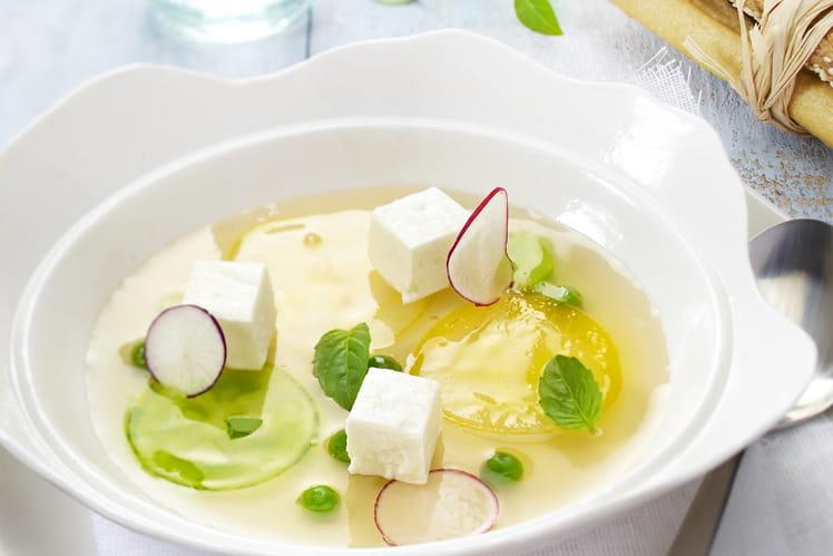 Fraîcheur de légumes d'été en gelée d'eau de tomate au Carré Frais 0%