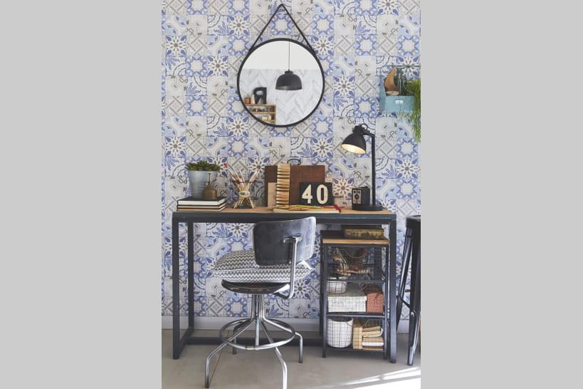 tendance le papier peint motifs carreaux de ciment. Black Bedroom Furniture Sets. Home Design Ideas