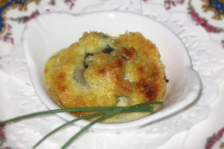 Amandes de mer gratinées au curry et aux noix
