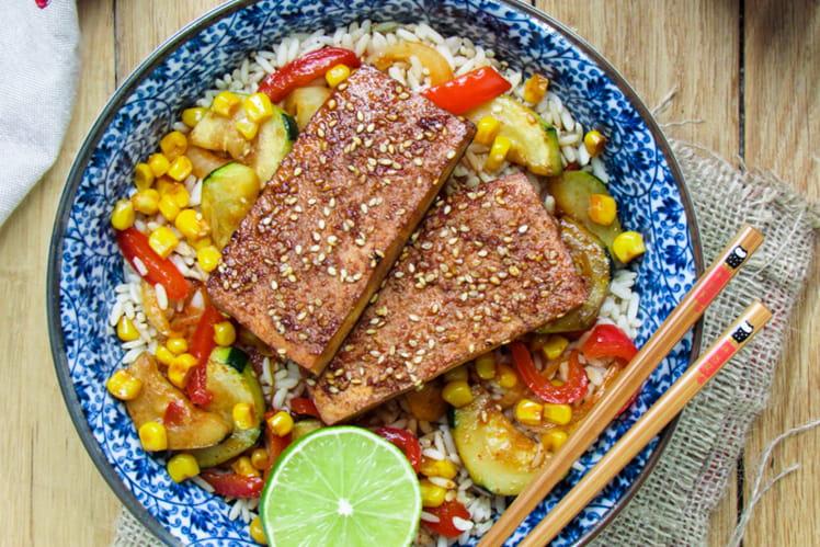 Tofu épicé et son riz de légumes