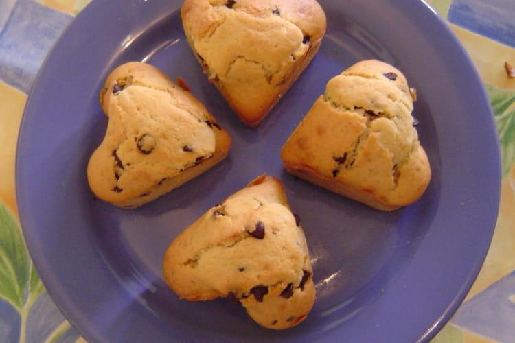 Muffins en coeur aux pépites de chocolat