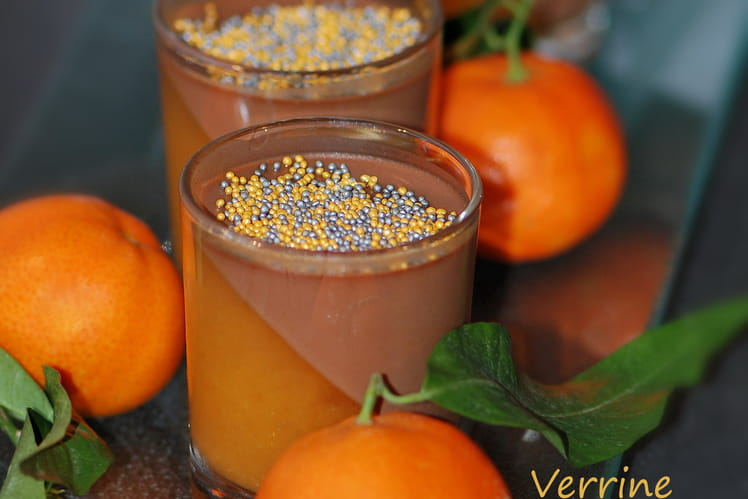Verrine bicolores au chocolat et clémentine