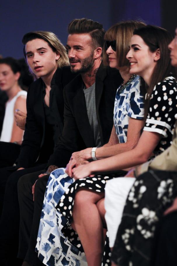 Brooklyn Beckham, David Beckham et Anna Wintour