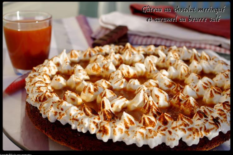 Gâteau  chocolat meringué  caramel au beurre salé