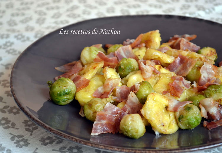 Recette de tortellini et choux de bruxelles po l s au lard - Cuisiner chou de bruxelles ...