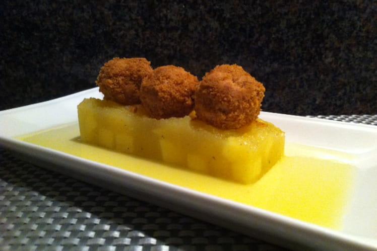 Truffes de foie gras aux spéculoos sur miroir de pomme