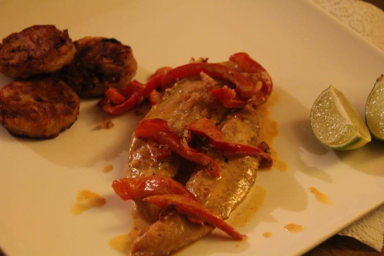 Filet de pangasius au curry rouge et citron vert