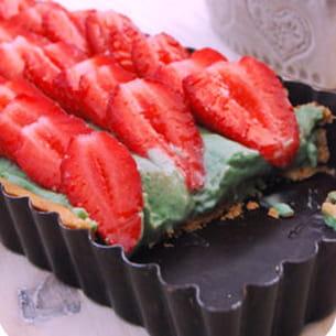 tarte aux fraises, mousse pistache