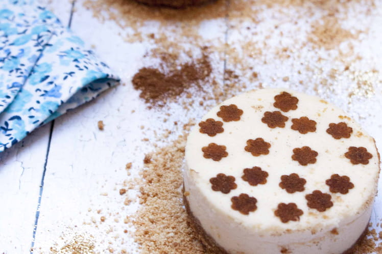 Cheesecake sur biscuit au caramel