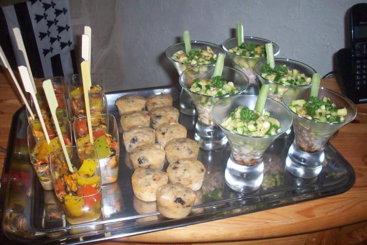 Verrines de courgettes au thon et verrines de moules